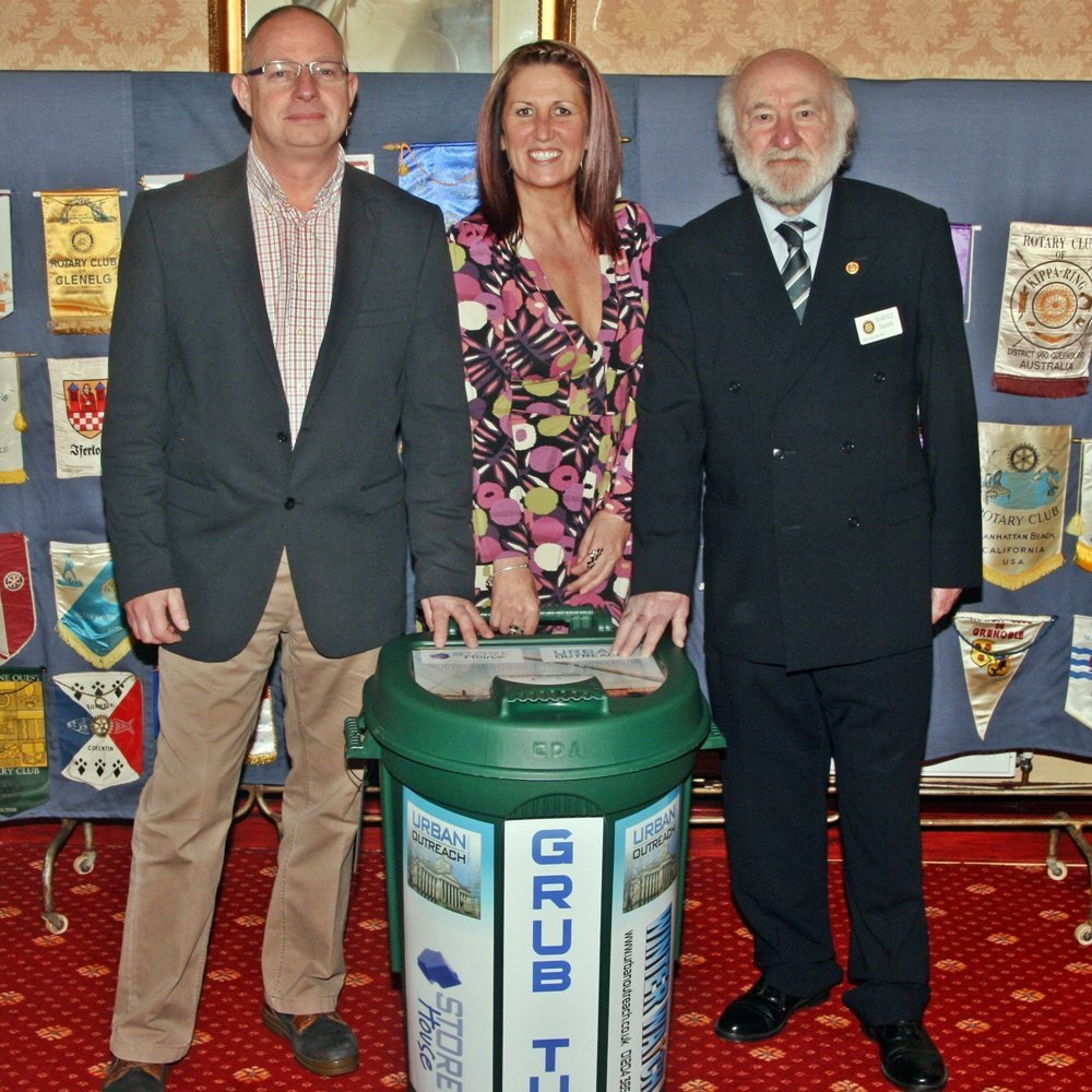 Harold Daniels - with Dave Bagely (Urban Outreach), Kellie McGarry (W.A.C.O.) as a new Grub Tub is presented at Rotary Club event 14 March 2013