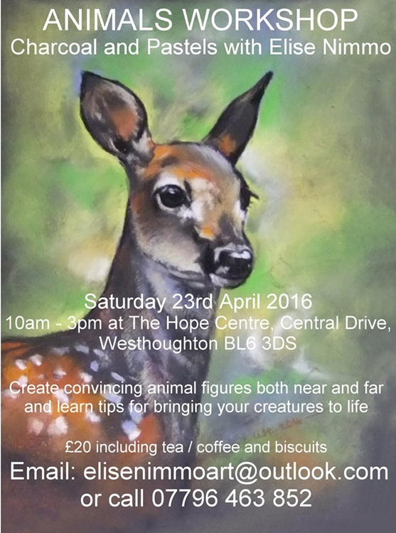 Create realistic animals with charcoal and pastels - workshop 23rs April 2016.