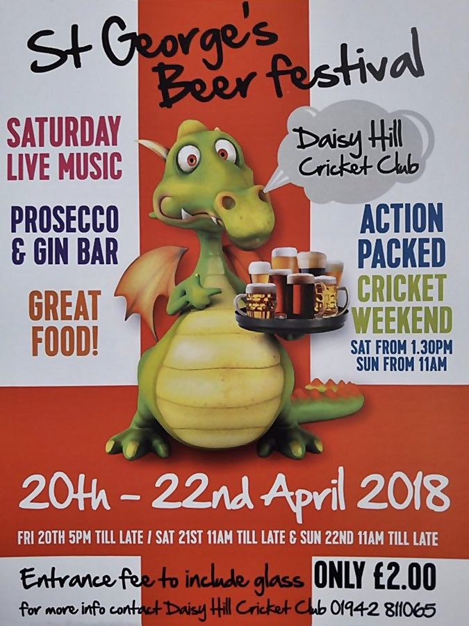 Daisy Hill Cricket Club Beer Festival 2018 - 20-22 April. Beer and more… £2 entry.