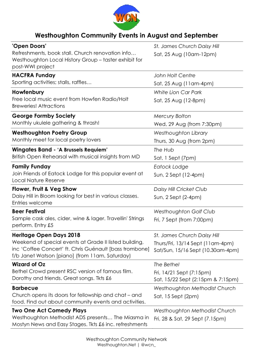 List of events coming up in Westhoughton late summer 2018.