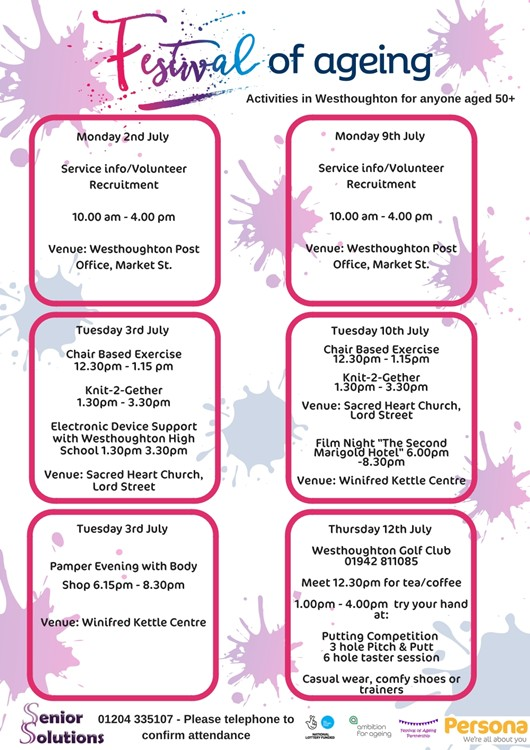Festival of Ageing 2018 - taster events and activities for the over 50s - 2nd to 15th July.