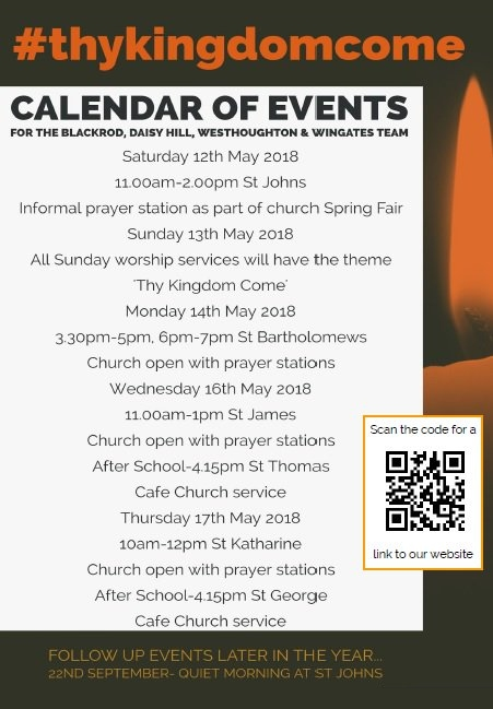 'Thy Kingdom Come Week' - special services and prayer stations at local Churches, 12th to 17th May 2018.