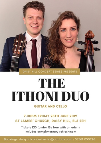 St. James Concert Series - Ithoni Duo (Guitar & Cello) - Friday, 28th June 2019 7:30pm.