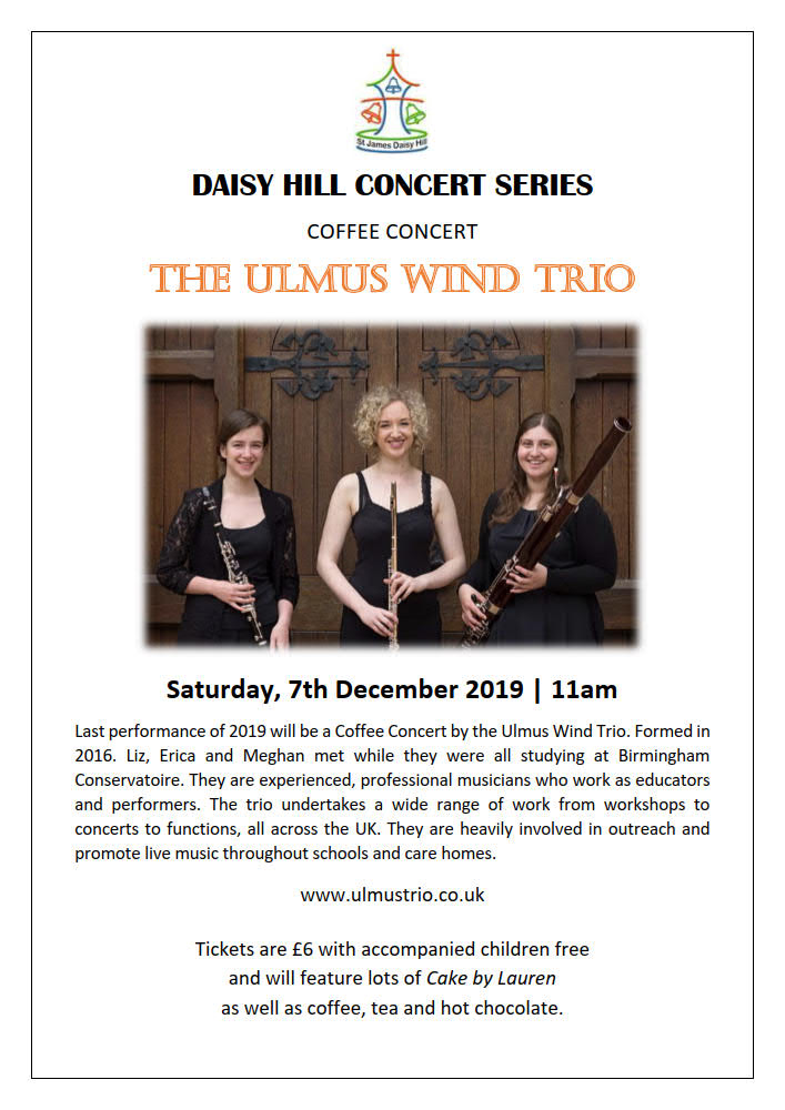 'St. James (Daisy Hill) Concert Series | Coffee Concert Ulmus Trio - 7th December 2019 | 11am.