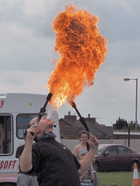 Westhoughton Community Network Fayre 1st June 2014 - Entertained by a Fire-eater