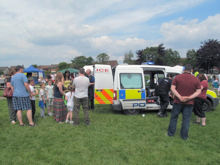 Pcsos at the Westhoughton Big Fun Day meeting the local community