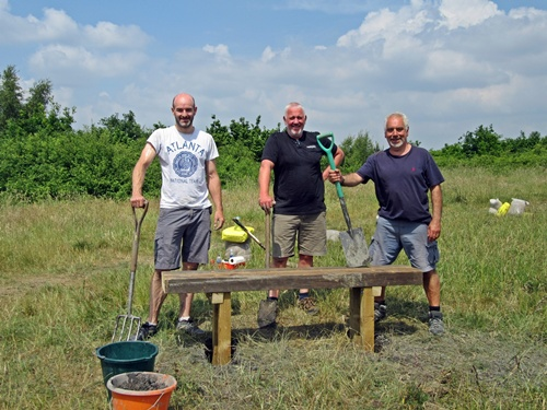 Friends of Eatock Lodge volunteers working to install new benches on hill (10 June 2018).