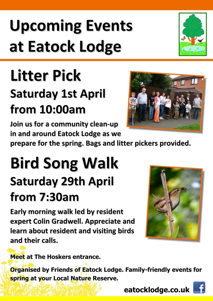 Friends of Eatock Lodge Spring 2017 events - Community Litter Pick (1/4) and Bird Song Walk (29/4).