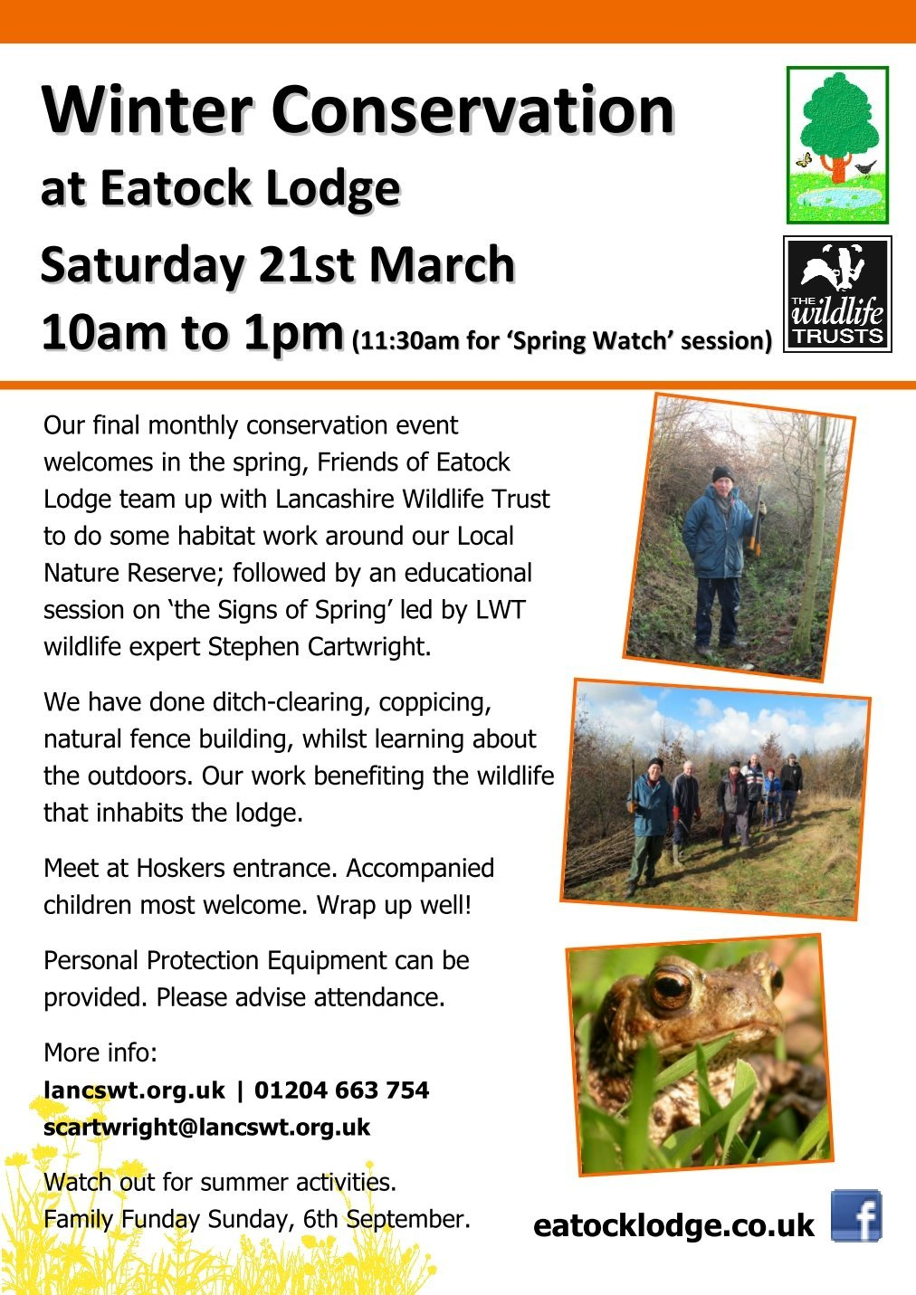 Eatock's Alive over Winter  Friends of Eatock Lodge join forces with Lancashire Wildlife Trust.
