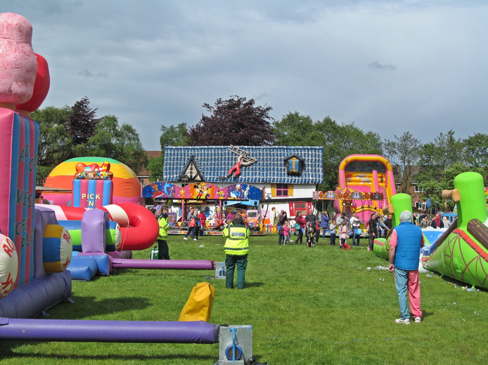 W.A.C.O It's A Knockout 2016 Westhoughton - Course with fairground in background.
