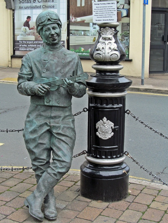 George Formby statue celebrating film 'No Limit' in Douglas, Isle of Man