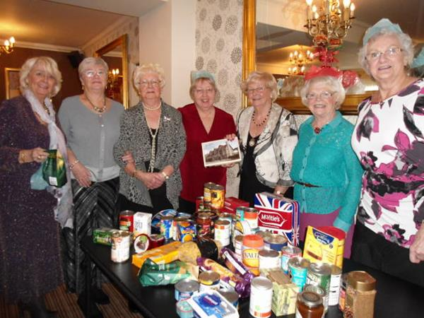 Westhoughton Townswomen Guild at the Brinsop for Christmas Lunch with their Foodbank donation - 11 December 2013