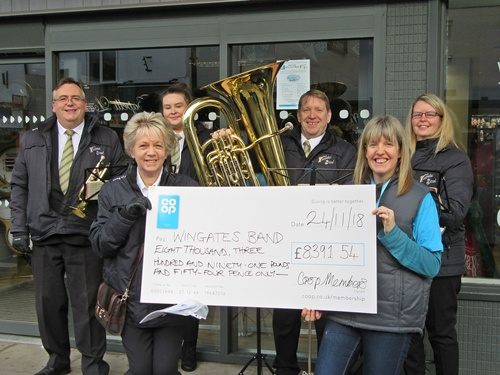 Wingates Brass Band receive cheque from Co-op Local Causes (24/11/18)
