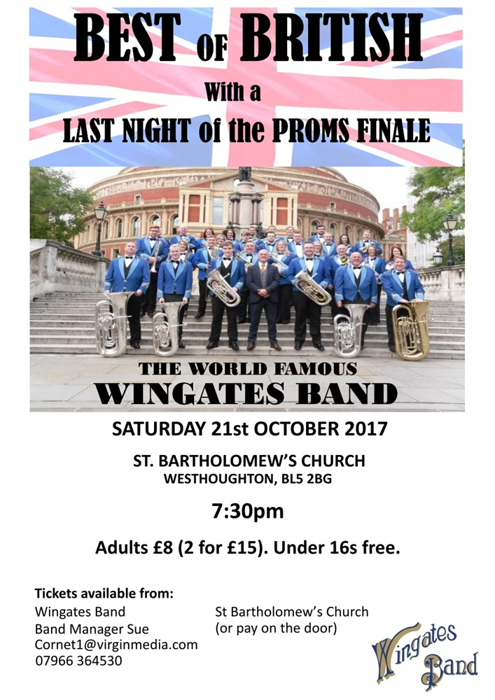 Wingates Band 'The Best of British' Concert - St. Bart's 21 Oct 17.