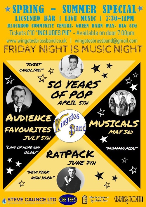 'Friday Night is Music Night' - 50 Years Of Pop, Blackrod Community Centre - 5th April.