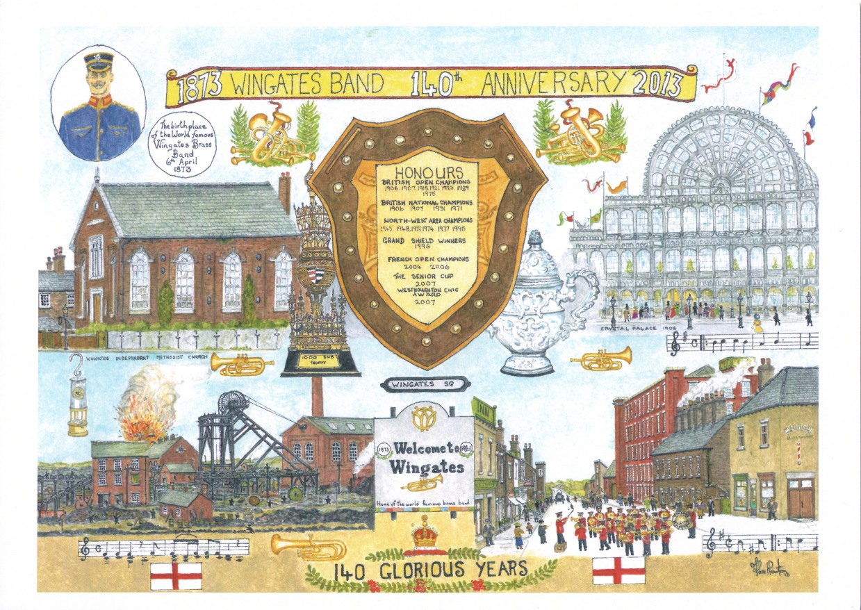 Wingates Brass Band watercolour by Tom Newton celebrating 140 years