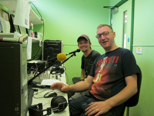 In the studio Washacre FM Breakfast Show with Stu and Dunc