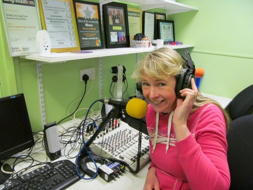 In the studio Lisa Reilly preparing for Washacre FM