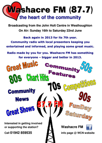 Washacre FM 2013 - Poster