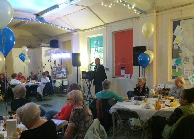 Andy entertains the ladies of WOW as we celebrate our first year - July 2014