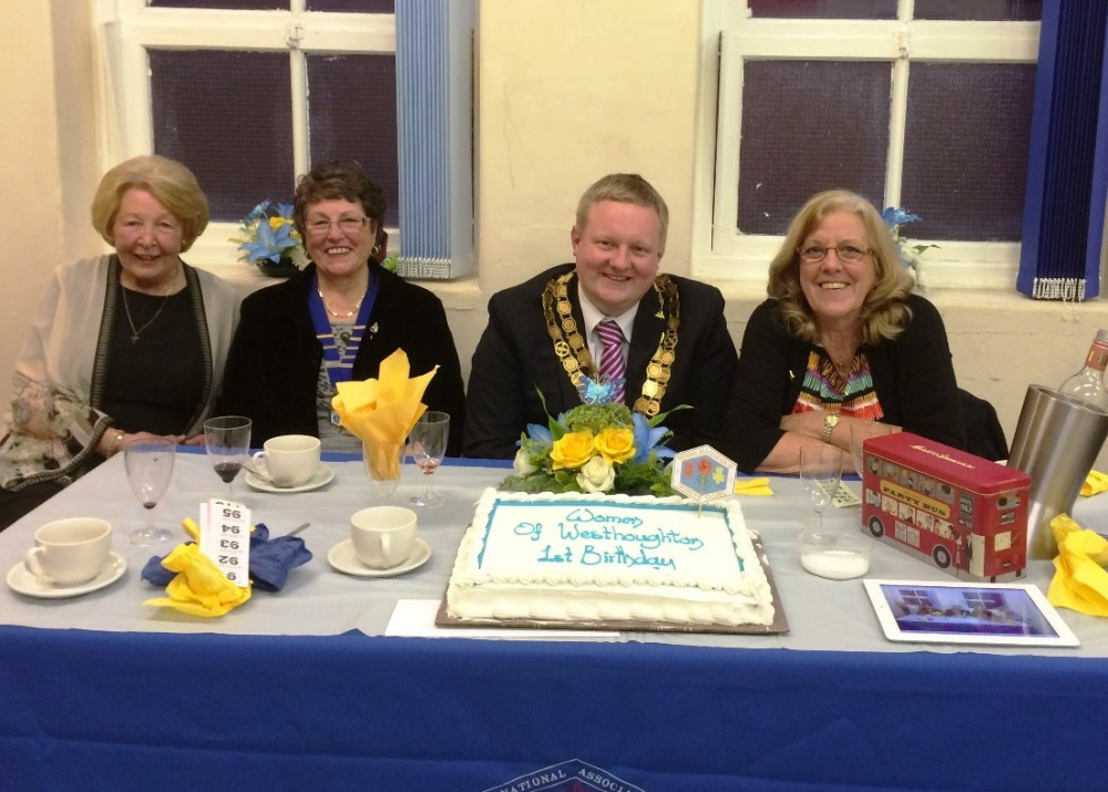 Pat Blair JP, National Association of Women's Clubs Chairman- Maureen Harwood, Mayor of Westhoughton-Councillor Chris Peacock and Janice Bayliss-NAWC Vice Chairman and founder of WOW - May 2014