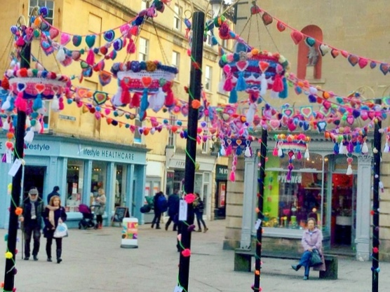 Westhoughton Yarn Bombing Festival 4th / 5th July 2015 - Street scene from festival in Bath (internet)