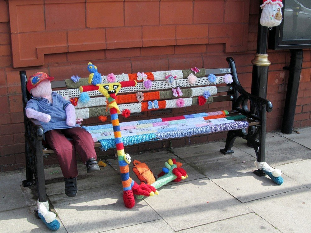 Westhoughton Yarn Bombing Festival 4th / 5th July 2015 - Town Hall bench gets the treatment