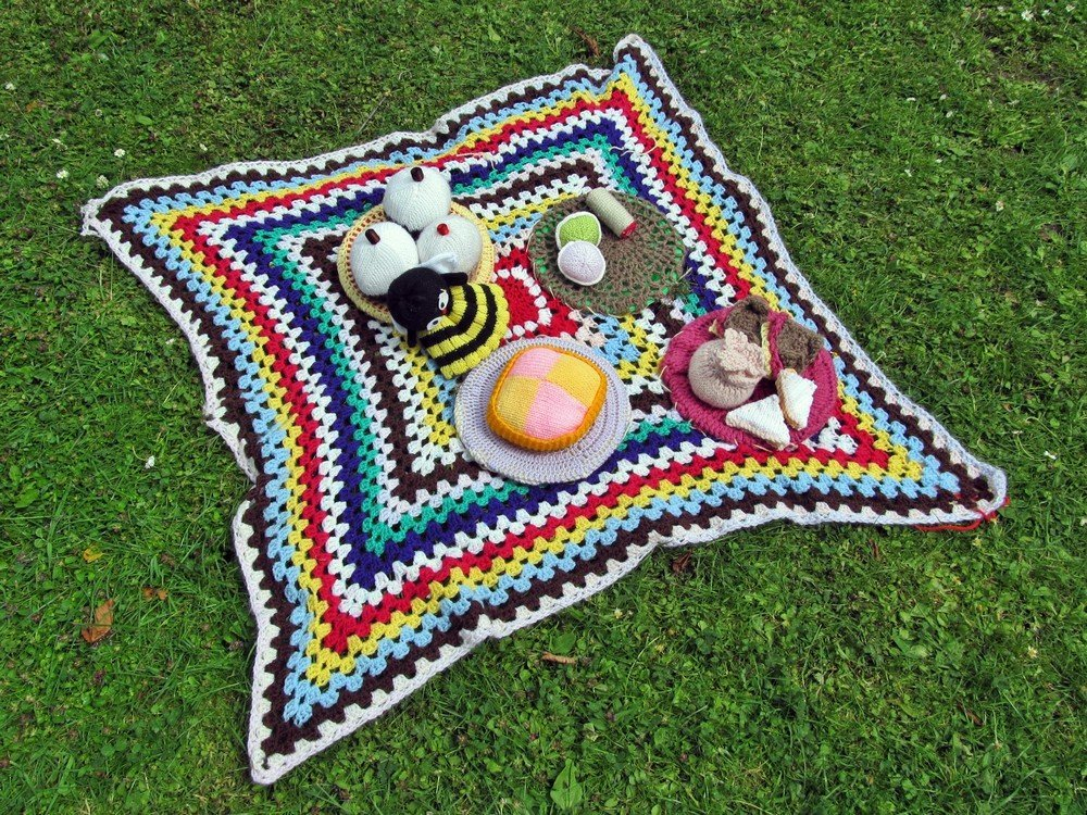 Westhoughton Yarn Bombing Festival 4th / 5th July 2015 - picnic display at Ditchfield Gardens
