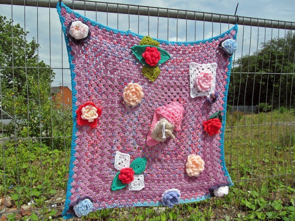 Westhoughton Yarn Bombing Festival 4th / 5th July 2015 - one of the many knitted items for Westhoughton Yarn Bombing Festival 2015