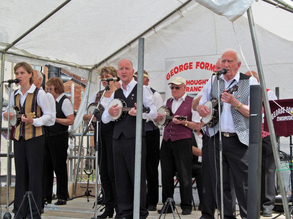 Westhoughton Yarn Bombing Festival 4th / 5th July 2015 - George Formby Society strum those ukuleles