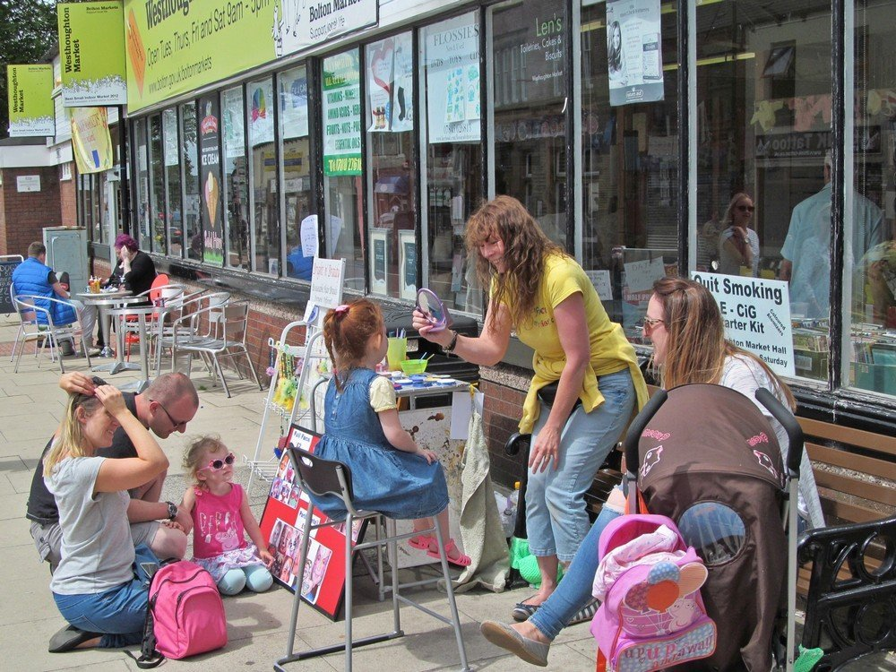 Westhoughton Yarn Bombing Festival 4th / 5th July 2015 - face-painting outside Westhoughton Market