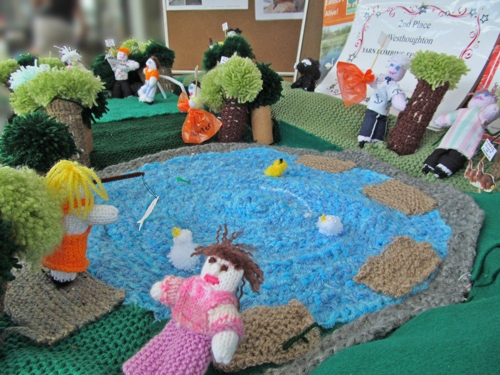 Westhoughton Yarn Bombing Festival 4th / 5th July 2015 - intricate yarn display from Friends of Eatock Lodge