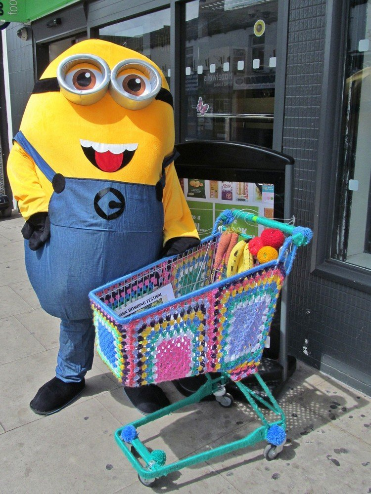 Westhoughton Yarn Bombing Festival 4th / 5th July 2015 - a Minion off his trolley