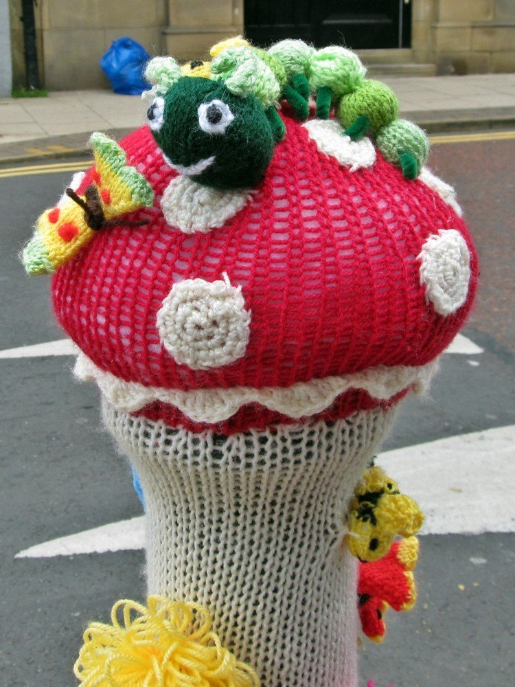 Westhoughton Yarn Bombing Festival 4th / 5th July 2015 - bollards growing mushrooms!