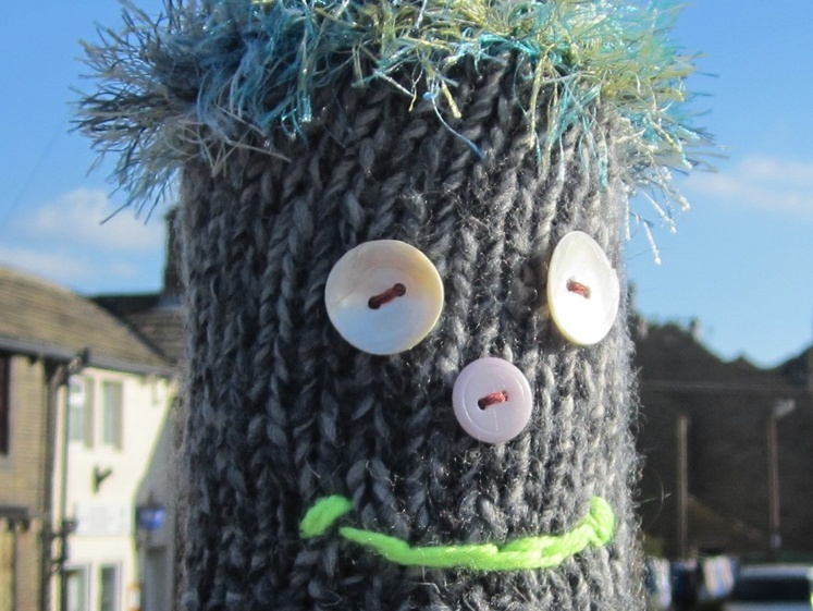 Westhoughton Yarn Bombing Festival 4th / 5th July 2015 - a wool face (internet)