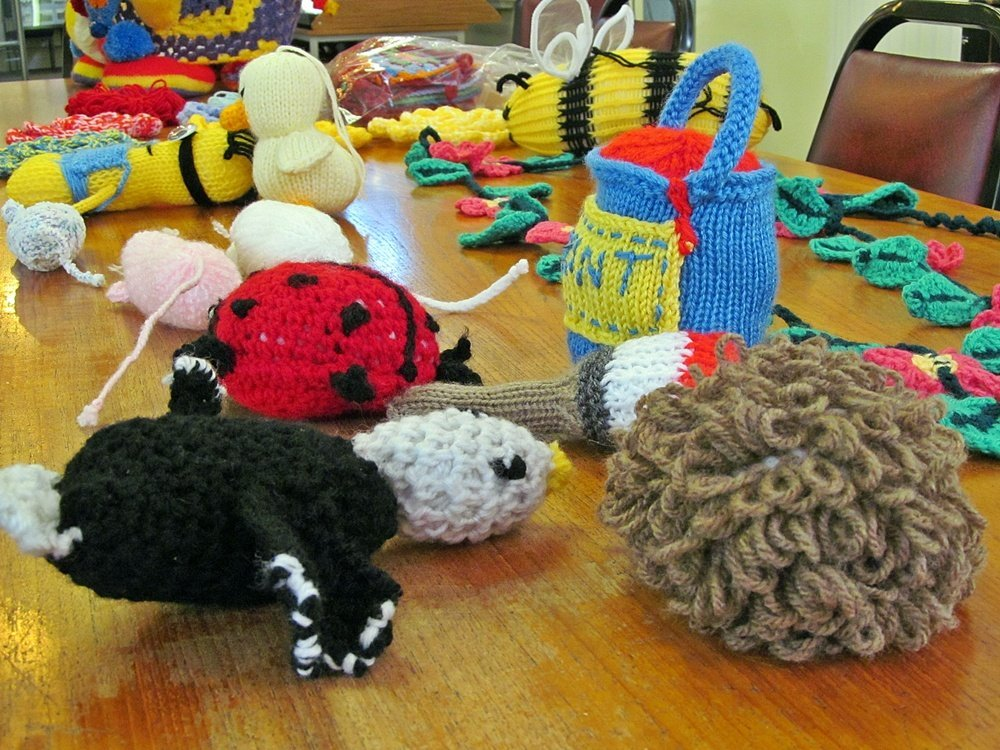 Westhoughton Yarn Bombing Festival 4th / 5th July 2015 - just some of the items knitted already