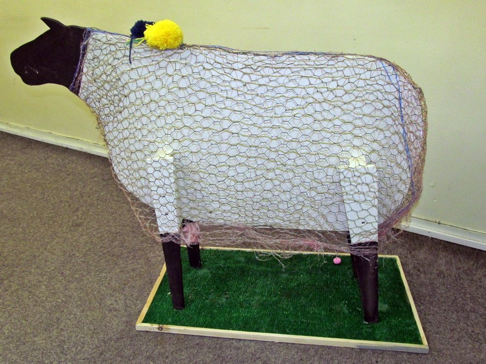 Westhoughton Yarn Bombing Festival 4th / 5th July 2015 - Memory sheep ready for visitor pom-poms