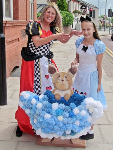 Westhoughton Yarn Bombing Festival 2016 - Queen of Hearts with Alice in Wonderland