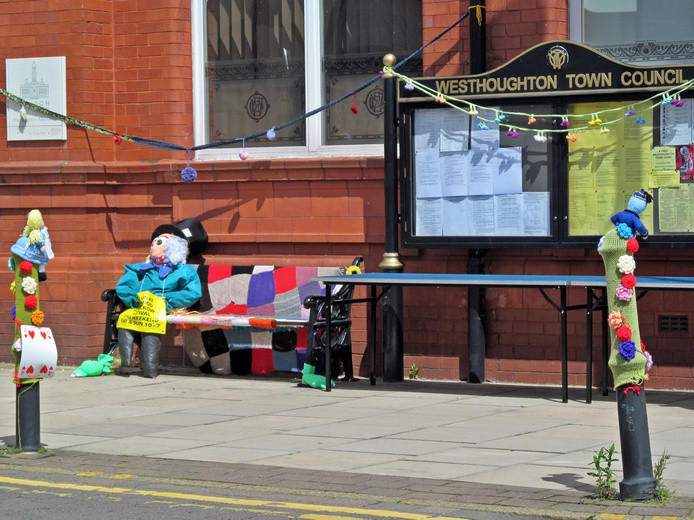 Westhoughton Yarn Bombing Festival 2nd / 3rd July 2016 - Town Hall display with Scarecrow from Blackrod festival