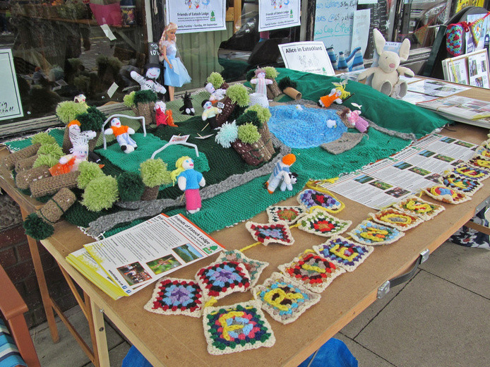 Westhoughton Yarn Bombing Festival 2nd / 3rd July 2016 -  Friends of Eatock Lodge display their yarned Local Nature Reserve