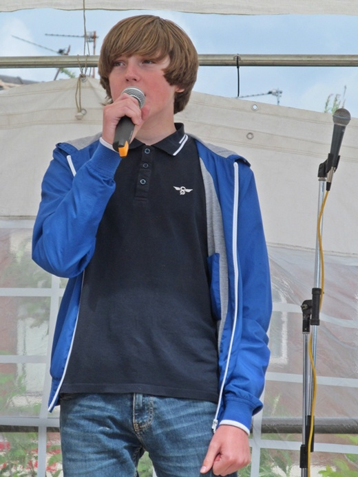 Westhoughton Yarn Bombing Festival 2nd / 3rd July 2016 - Up and coming young talent. Luke makes his public début on Mill Street stage