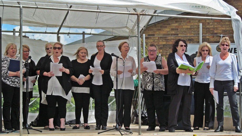 Westhoughton Yarn Bombing Festival 2nd / 3rd July 2016 - Westhoughton Community Choir perform at Mill street stage
