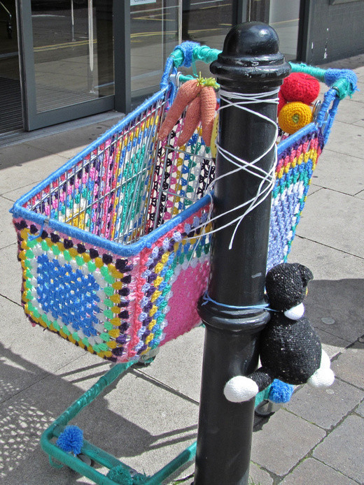 Westhoughton Yarn Bombing Festival 2016 - Supermarket trolley yarn bombed!