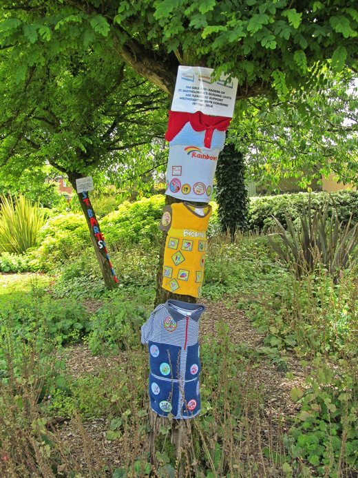 Westhoughton Yarn Bombing Festival 2nd / 3rd July 2016 - Local Guides group displays in Ditchfield Gardens