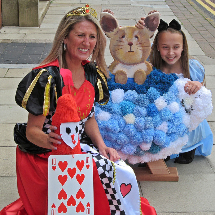 Westhoughton Yarn Bombing Festival 2nd / 3rd July 2016 - Rabbit teapot, Queen of Hearts and Alice