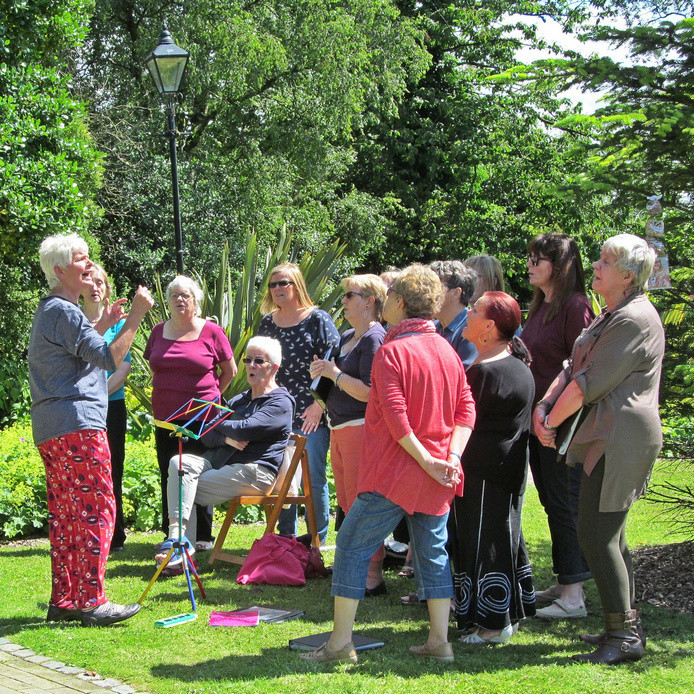 Westhoughton Yarn Bombing Festival 2nd / 3rd July 2016 - Horwich based female choir perform at Ditchfield Gardens