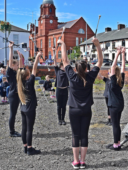 Westhoughton Yarn Bombing Festival 2nd / 3rd July 2016 - Dancing from Majorettes troupe at Mill Street