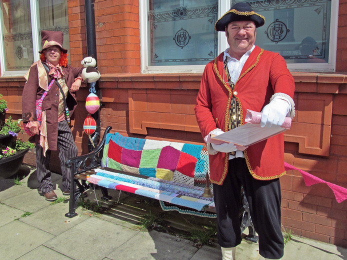 Westhoughton Yarn Bombing Festival 2nd / 3rd July 2016 - Mad Hatter and Town Crier in front of Yarn Bombed Town Hall
