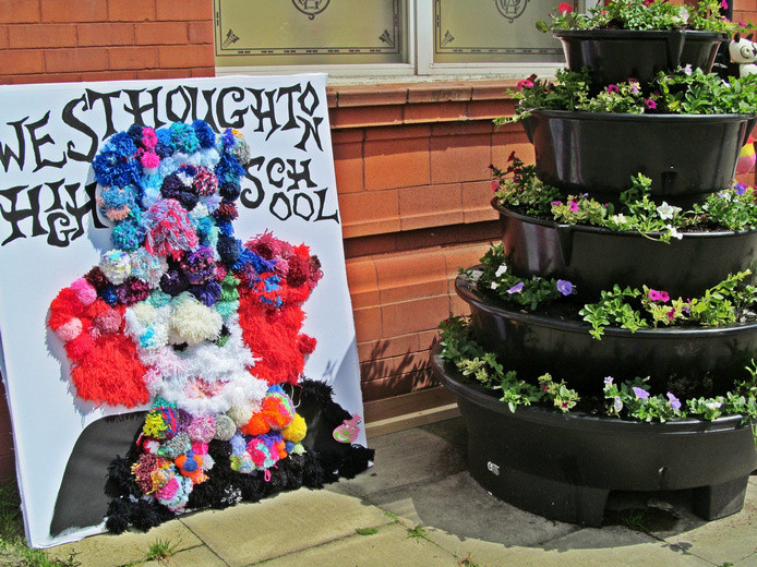 Westhoughton Yarn Bombing Festival 2nd / 3rd July 2016 - Westhoughton High School Yarn Bombing display