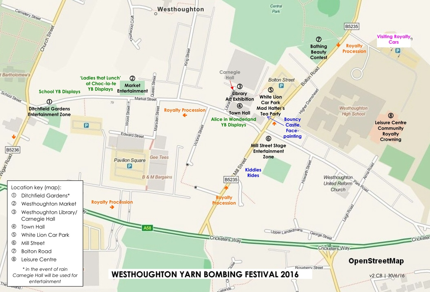 Westhoughton Yarn Bombing Festival 2nd / 3rd July 2016 - Locations